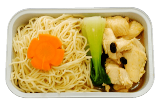 Egg noodle, chicken with black bean sauce