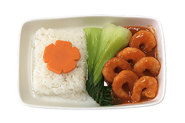 Steamed rice with ketchup sauce
