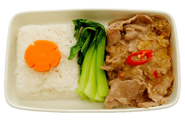Stir-fried beef with steamed rice