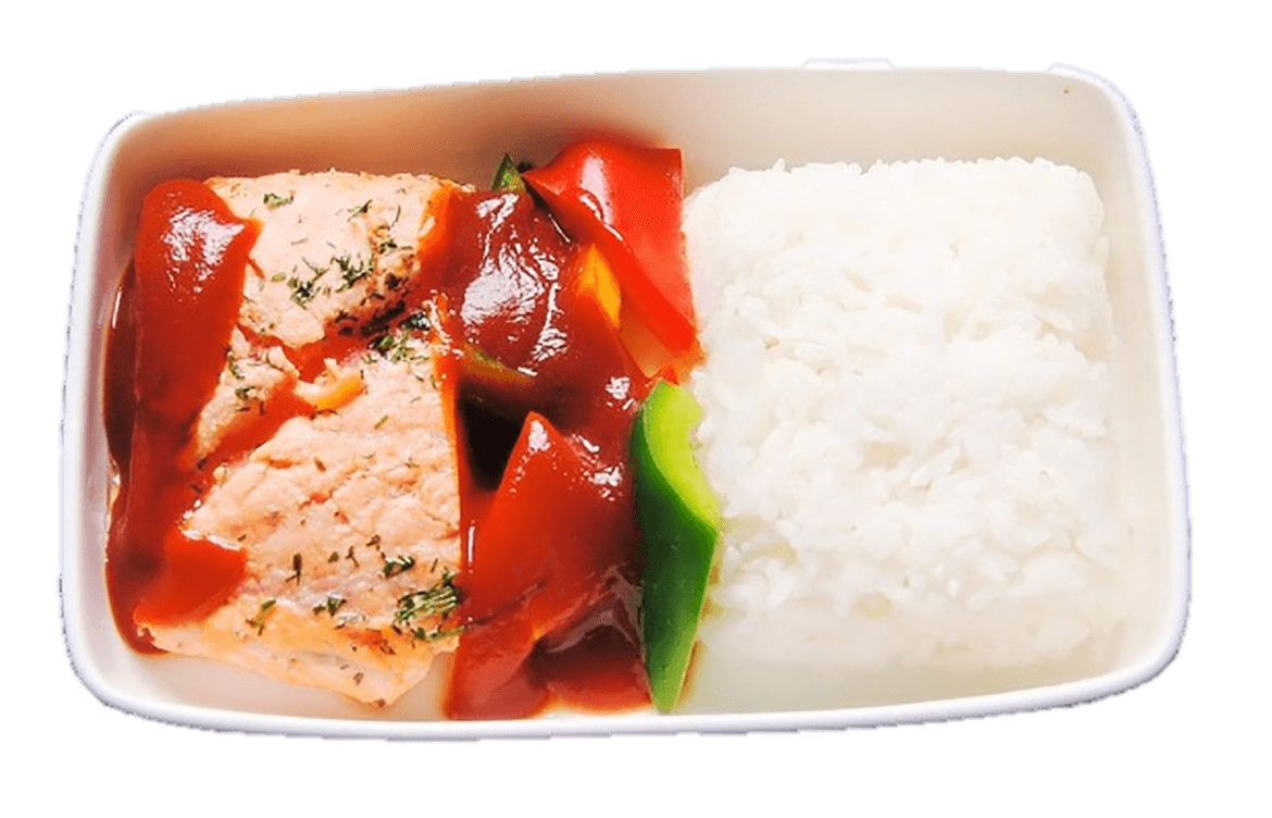 Grilled salmon with steamed rice