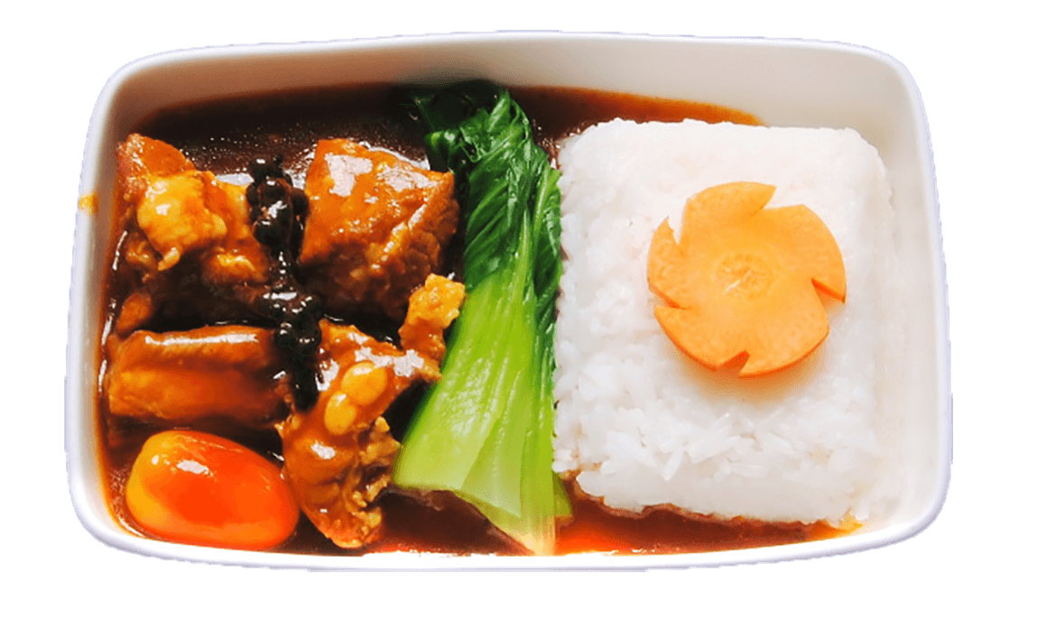 Pork rib with steamed rice and vegetable