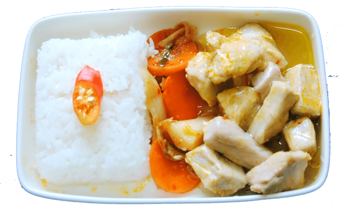 Steamed rice, stewed pork with Korean style